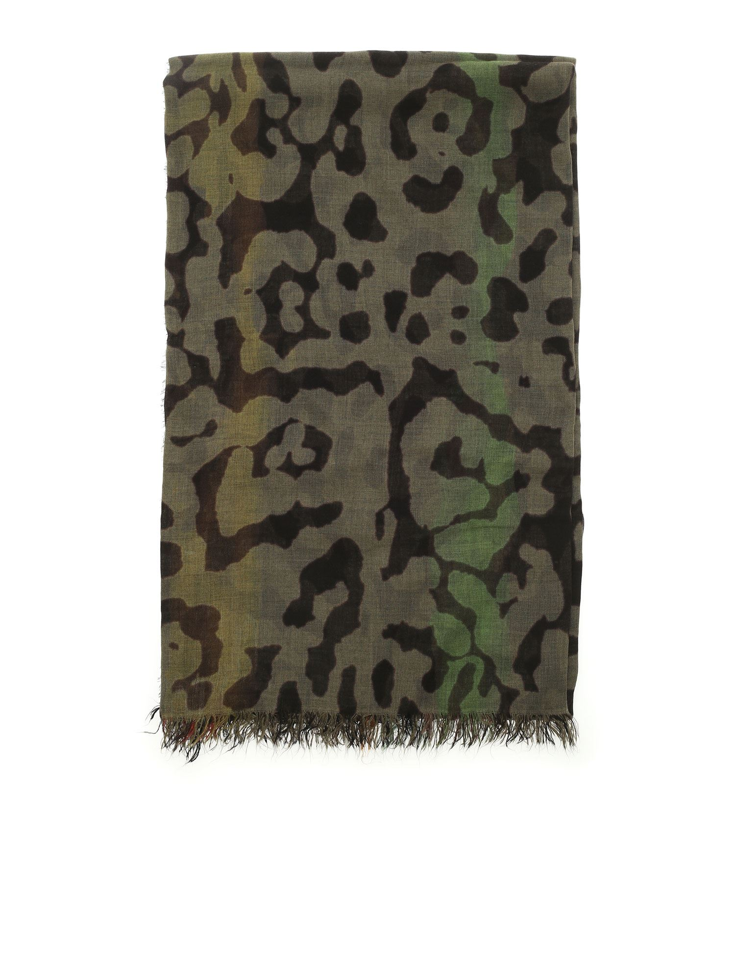Faliero Sarti Scarves LEOPARD CAMOUFLAGE PRINT SCARF IN GREEN