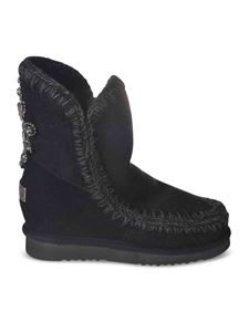 Mou - Rhinestones ankle boots in black
