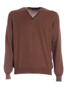 Fay - Logo embroidery pullover in brown