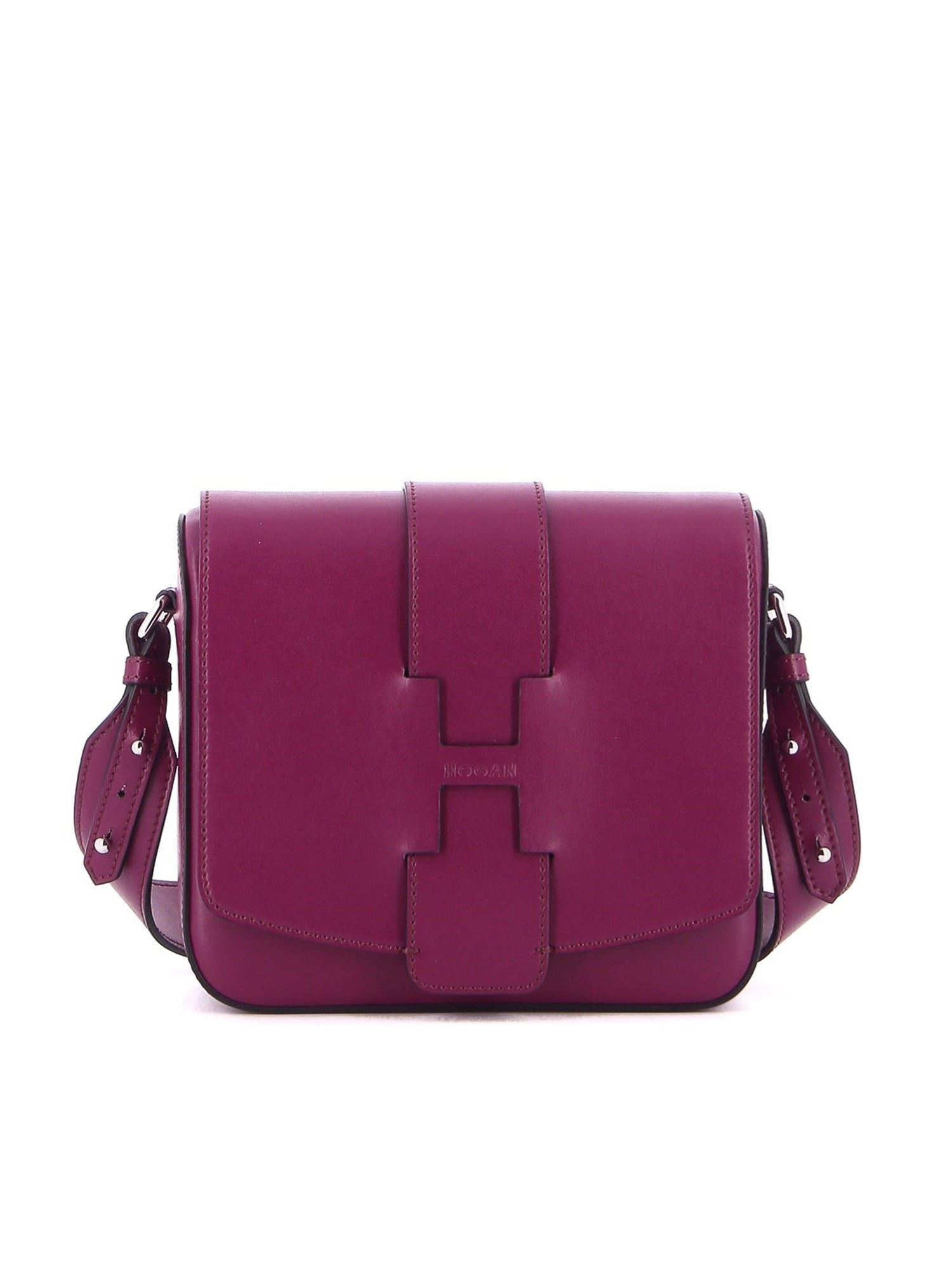 Hogan RAW-CUT H LEATHER BAG IN PURPLE