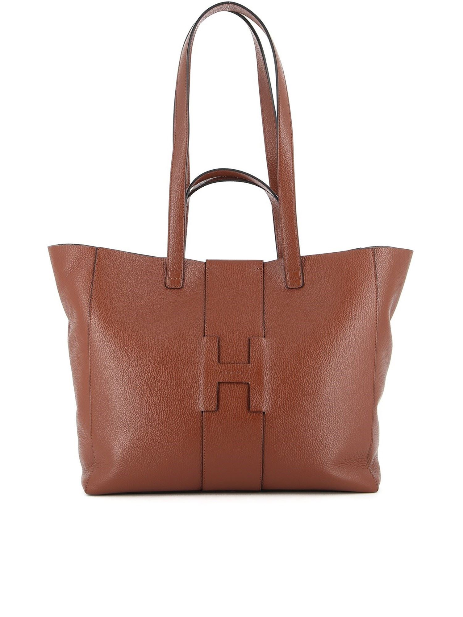 Hogan HAMMERED LEATHER TOTE BAG IN BROWN