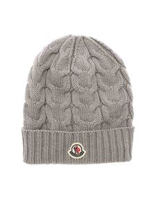 Moncler Jr - Logo patch tricot effect beanie in grey