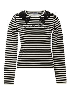 Red Valentino - Floral insert striped sweater in black
