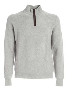 Fedeli - Zipped high neck sweater in grey