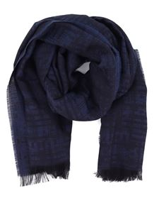 Z Zegna - Wool blend jacquard scarf in blue
