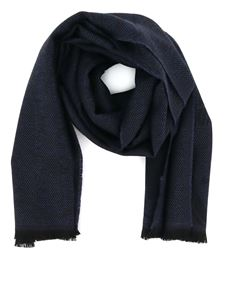 Z Zegna - Herringbone wool scarf in blue