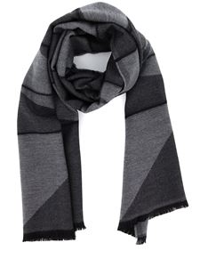 Z Zegna - Herringbone wool scarf in grey