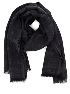 Z Zegna - Wool blend jacquard scarf in grey