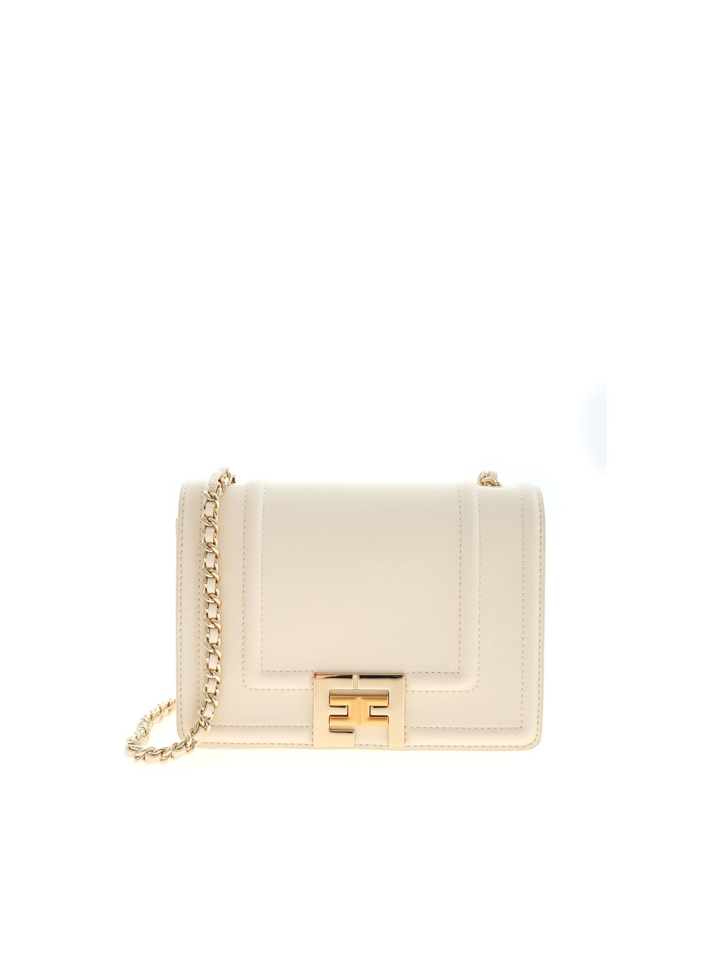 Elisabetta Franchi GOLDEN METAL LOGO BAG IN IVORY COLOR