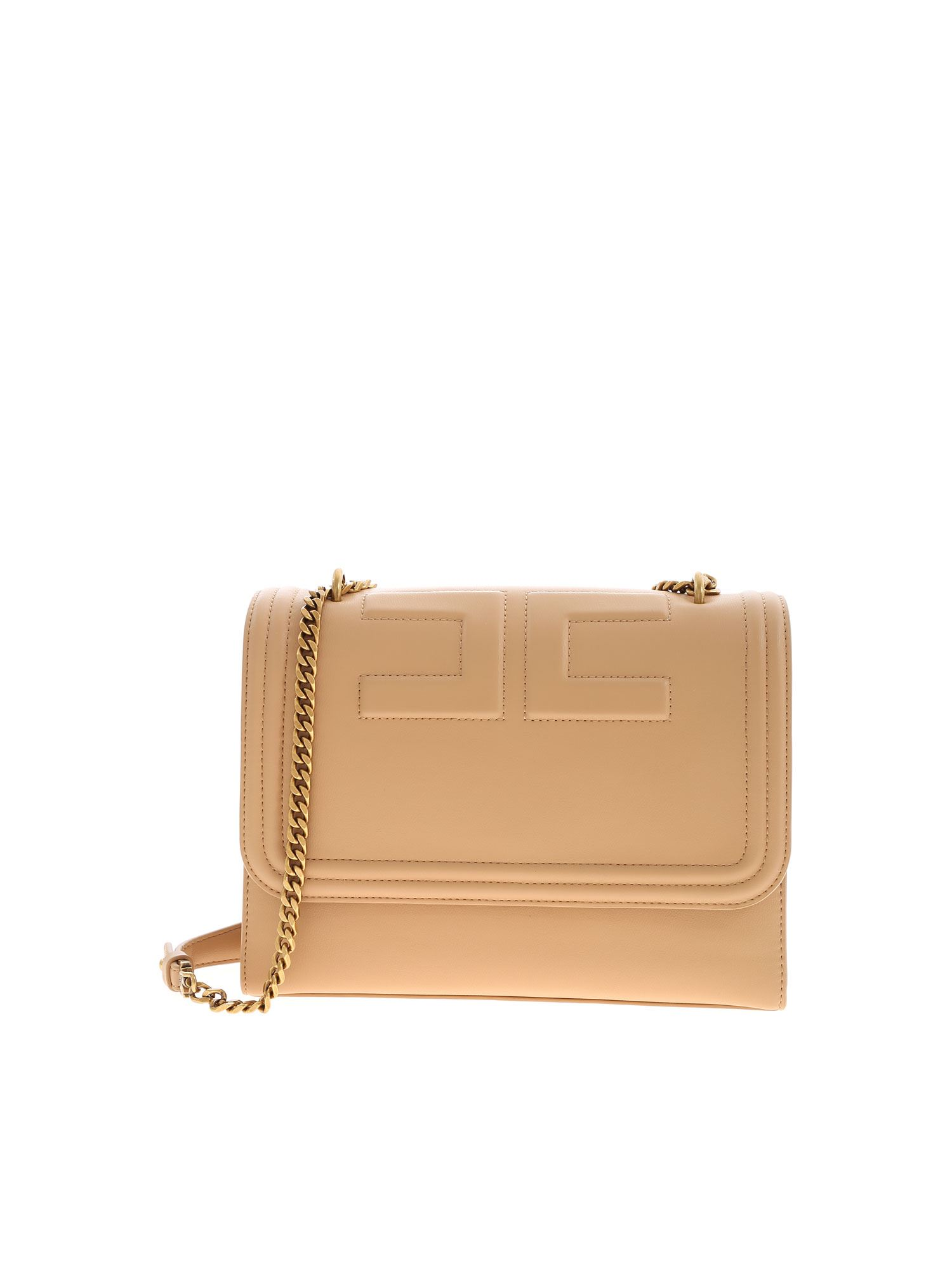 Elisabetta Franchi LOGO SHOULDER BAG IN NUDE COLOR