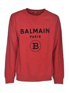 Balmain - Branded crewneck sweatshirt in red
