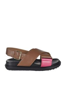 Marni - Cross sandals in brown and pink