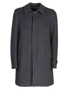 Herno - wool blend twill coat in grey