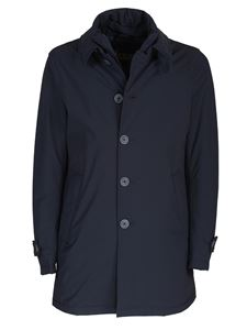Herno - Single-breasted padded coat in blue