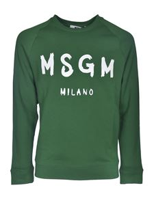 MSGM - Brushed logo print sweatshirt in green