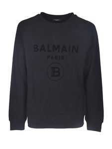 Balmain - Sweatshirt with flock logo in black