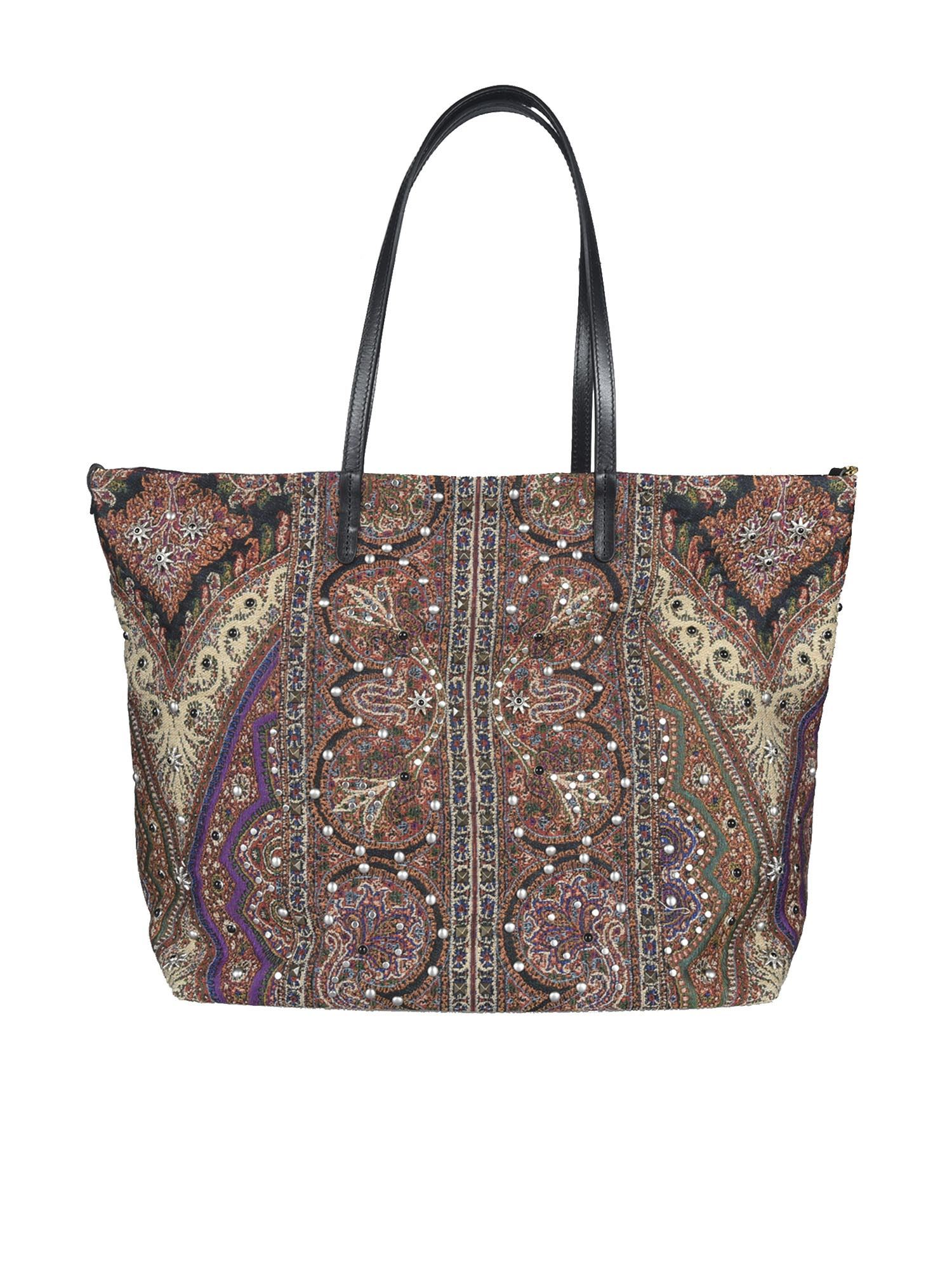 ETRO Leathers MULTICOLOR PAISLEY PATTERN BAG IN BLACK