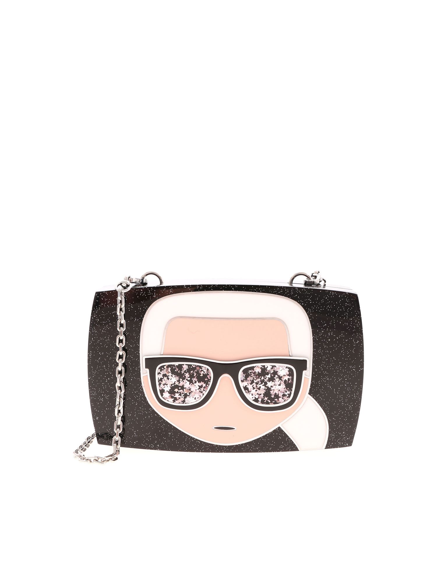 Karl Lagerfeld IKONIC KARL MINAUDIERE BAG IN BLACK
