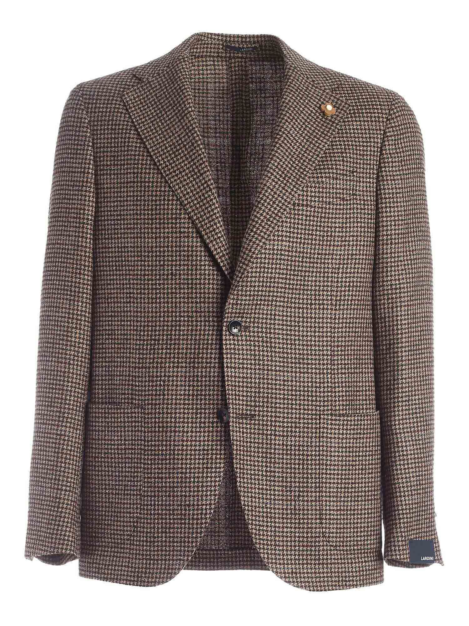 Lardini SINGLE-BREASTED JACKET IN BROWN