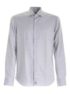 Sonrisa - Herringbone pattern shirt in white
