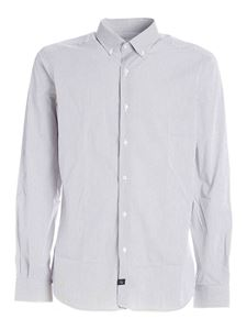 Fay - Checked button down shirt in white and brown