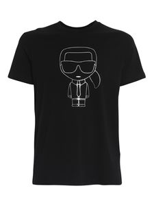 Karl Lagerfeld - Cotton T-shirt with logo print in black