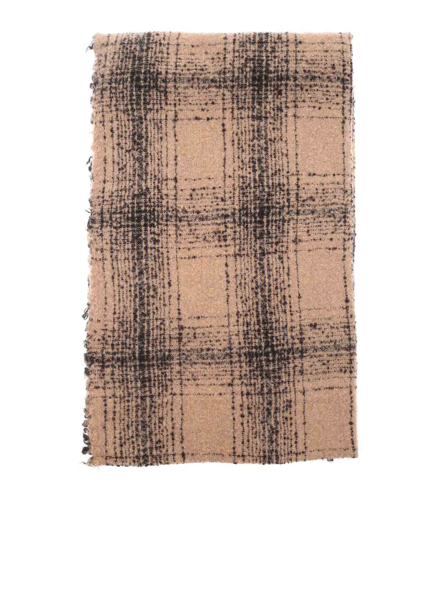 Faliero Sarti MILA CHECKED SCARF IN CAMEL COLOR