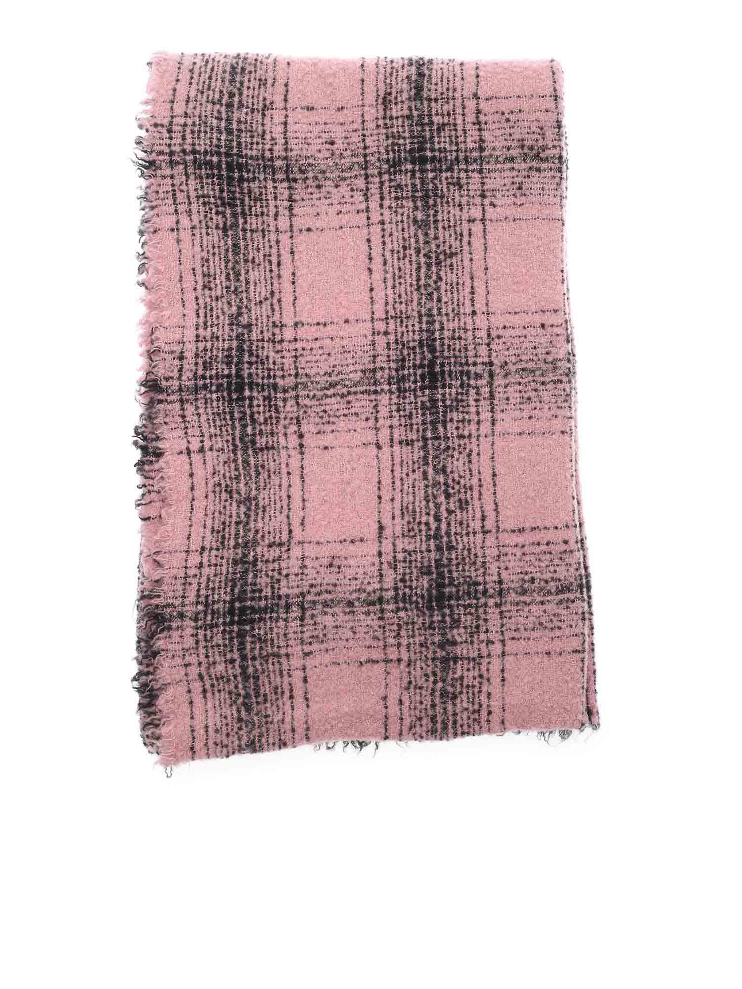 Faliero Sarti MILA CHECKED SCARF IN PINK AND BLACK