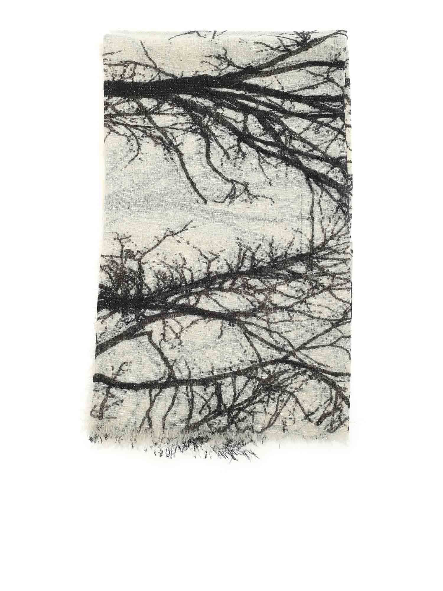 Faliero Sarti LUCITA PRINTED SCARF IN BLACK AND BEIGE