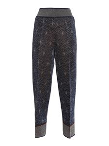 M Missoni - Star pattern knitted trousers in blue