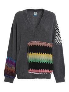 M Missoni - Chevron patch jumper in grey