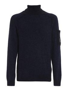 CP Company - Fleece knitted wool blend turtleneck in blue
