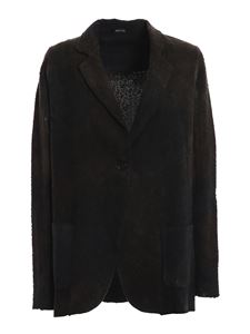 Avant Toi - Faded cashmere and wool blend blazer in brown