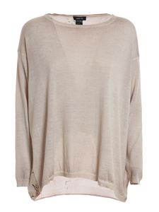 Avant Toi - Floral silk back oversized sweater in beige