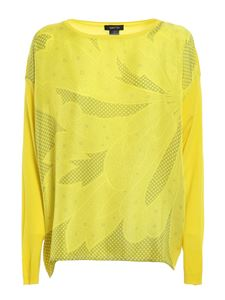 Avant Toi - Patterned boat neck jumper in yellow