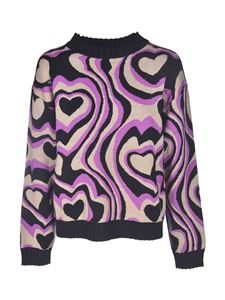 MSGM - Heart pullover in black beige and purple