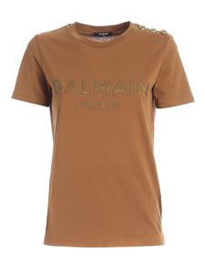Balmain - Buttons on the shoulder T-shirt in camel color