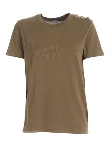 Balmain - Buttons on the shoulder T-shirt in green