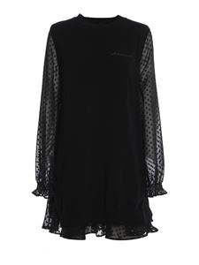 Ermanno Scervino - Chiffon detail wool dress in black