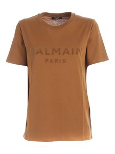 Balmain - Flock logo T-shirt in camel color