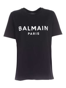 Balmain - White flock logo T-shirt in black