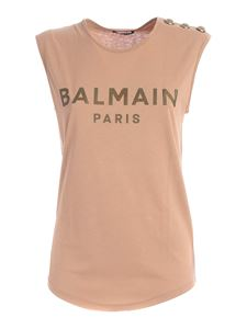 Balmain - Buttons sleeveless T-shirt in nude color