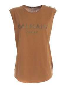 Balmain - Buttons sleeveless T-shirt in camel color