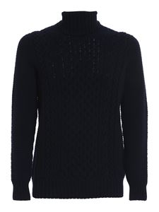Drumohr - Cable-knit turtleneck sweater in blue