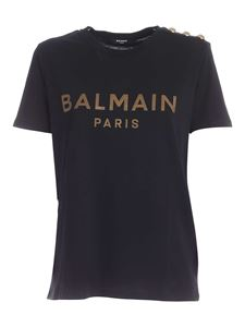 Balmain - Buttons on the shoulder T-shirt in black