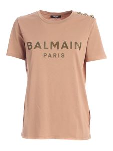 Balmain - Buttons on the shoulder T-shirt in nude color