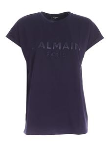 Balmain - Logo patch T-shirt in indigo blue color