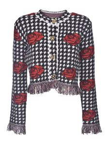 Versace - Checked print and roses cardigan