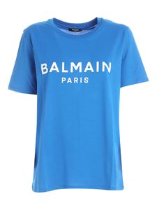 Balmain - White lock logo T-shirt in blue