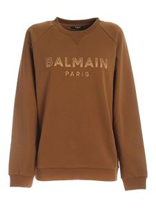 Balmain - Felpa con patch logo color cammello